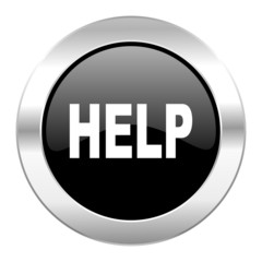 help black circle glossy chrome icon isolated