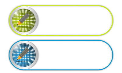 two vector buttons with grid and pencil