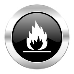 flame black circle glossy chrome icon isolated