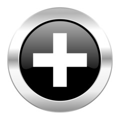 plus black circle glossy chrome icon isolated