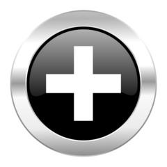 plus black circle glossy chrome icon isolated