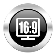16 9 display black circle glossy chrome icon isolated
