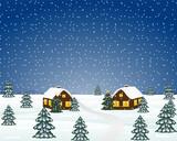 Winter evening in the village