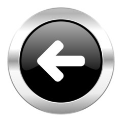 left arrow black circle glossy chrome icon isolated