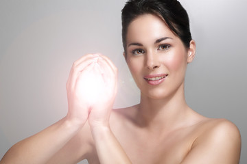 beautiful model showing her perfect skin light effect