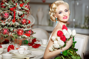 luxurious sexy woman at Christmas background