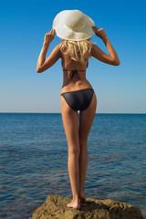 Sexy blonde on sea