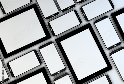 empty smartphones and tablets