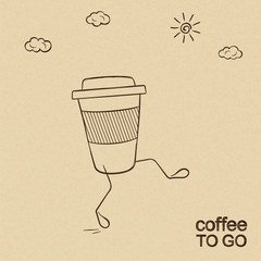 Coffee to go concept doodled over rough brown paper