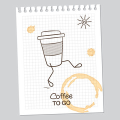 Coffee to go concept over paper sheet with coffee stains