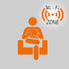 Vector icon of the working person in Wi-Fi to a zone.