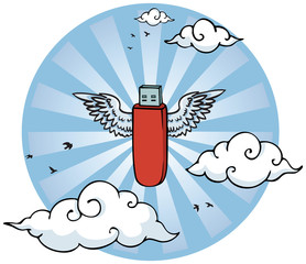 Flying pen drive with wings