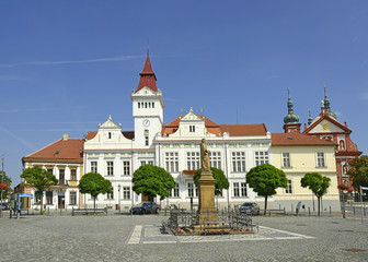 Stara Boleslav, main square, statue of St. Wenceslas, Town Hall