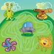 UFO monster maze - vector illustration