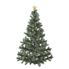 Green Christmas tree with golden star