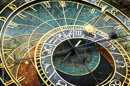 Deurstickers Praag Praski zegar astronomiczny w stylu retro