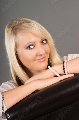 canvas print picture Portrait einer Frau mit blonden Haaren