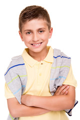 Boy posing over white