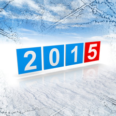 2015 year numbers on frosty winter background