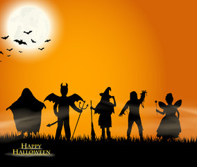 Halloween - verkleidete Kindersilhouetten - trick or treat