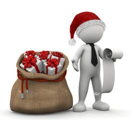 omino bianco con sacco di regali e lista