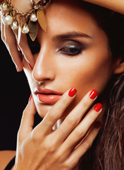 beauty young sencual woman with jewellery close up, luxury