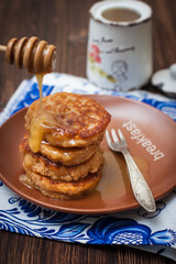 Buckwheat pancakes with white honey
