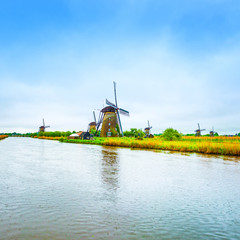Windmills and canal in Kinderdijk, Holland or Netherlands. Unesc