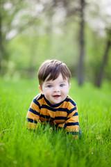 little boy crawling on a green lawn
