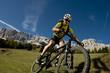 Leinwandbild Motiv Mountain bike downhill in the dolomites - mountainbiking