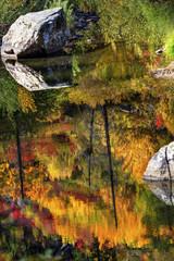 Fall Orange Red Colors Reflection Wenatchee River Washington