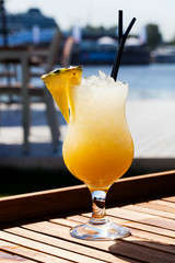appetizing cocktail with pineapple
