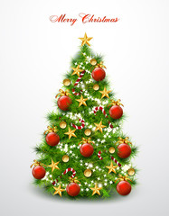 Christmas tree decorated with balls and stars. Vector
