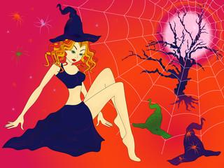 Halloween girl in sinister moonlight night