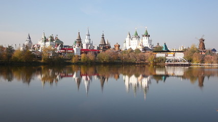 Panorama of the Izmaylovsky Kremlin which is reflected in water