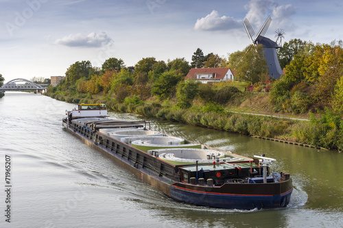 Freight ship on the Mittelland Canal in Hannover