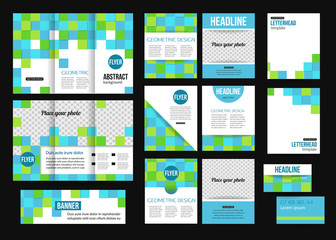 Set of corporate business stationery templates. Abstract