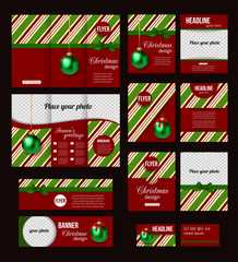 Set of Christmas corporate business stationery templates.