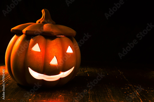 canvas print picture Halloween Kürbis Nacht leuchten Kerze