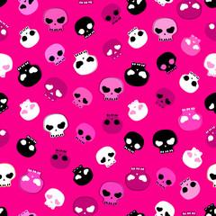 girlish aggressive cute skulls seamless pattern