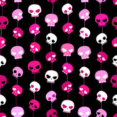 girlish aggressive cute black and pink skulls; seamless pattern