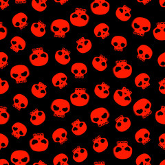 black and red skulls seamless pattern