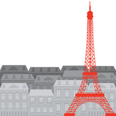 Eiffel Tower on the background of the city, vector illustration