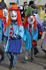 Colourful parade of carnival masks in Riehen, Switzerland