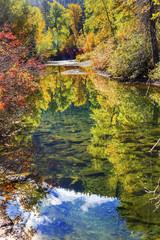 Fall Colors Reflection Wenatchee River Washington