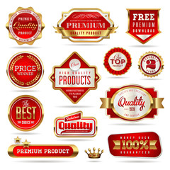 red and golden promo stickers