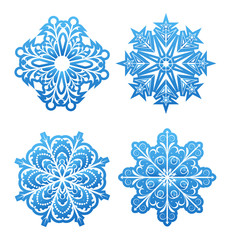 Set of variation snowflakes isolated