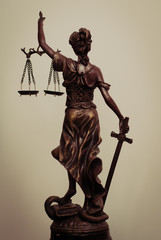 Themis goddess or lady justice standing back