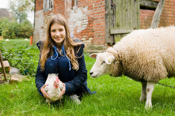 Kind auf Bauernhof