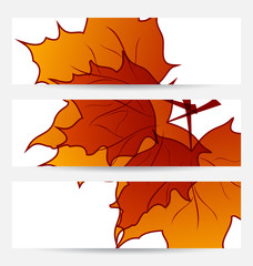 Set autumnal cards with maple leaves